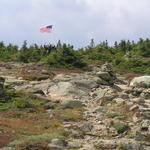 The flag atop Pierce - some scouts stay to greet visitors