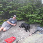 Relaxing on the foggy summit